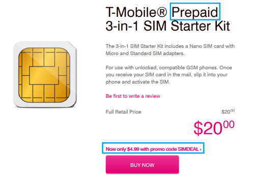 3-in-1 SIM card for pre-paid subscribers is $4.99 after coupon code