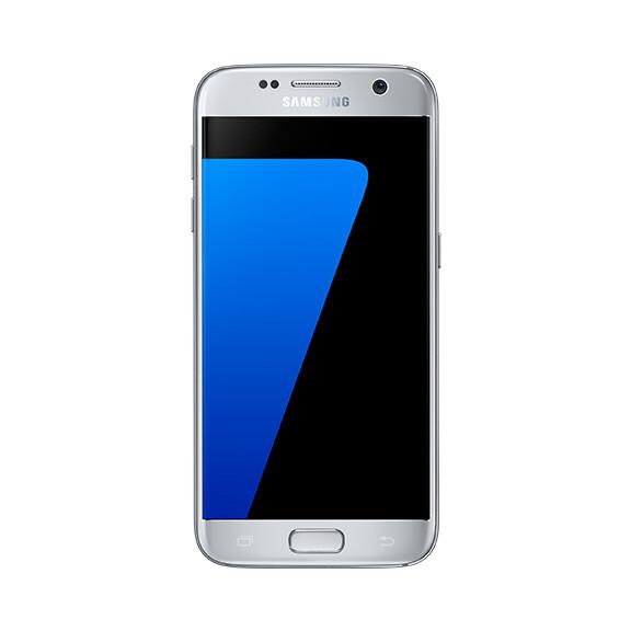 Samsung Galaxy S7 in silver.