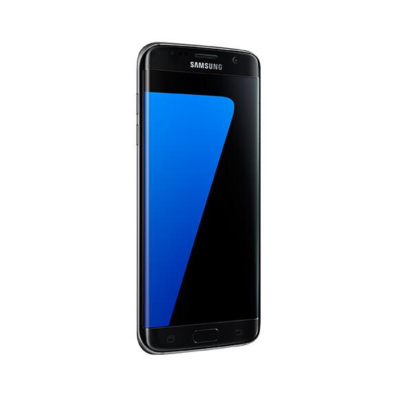 Samsung Galaxy S7 edge in black.
