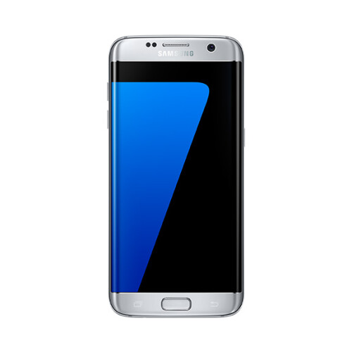 Samsung Galaxy S7 edge in silver.