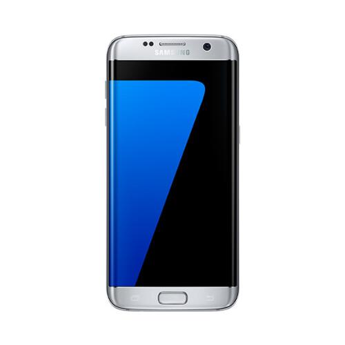 Samsung Galaxy S7 edge in silver.