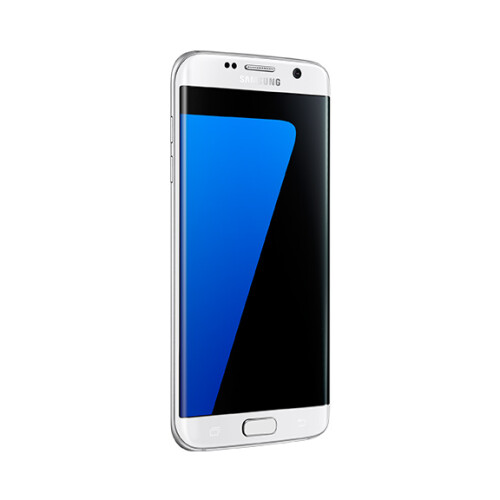 Samsung Galaxy S7 edge in white.