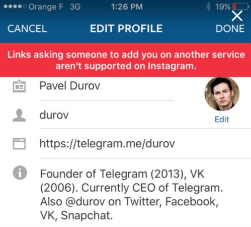 Try to add a link to Telegram or Snapchat on your Instagram profile and this is what you will see