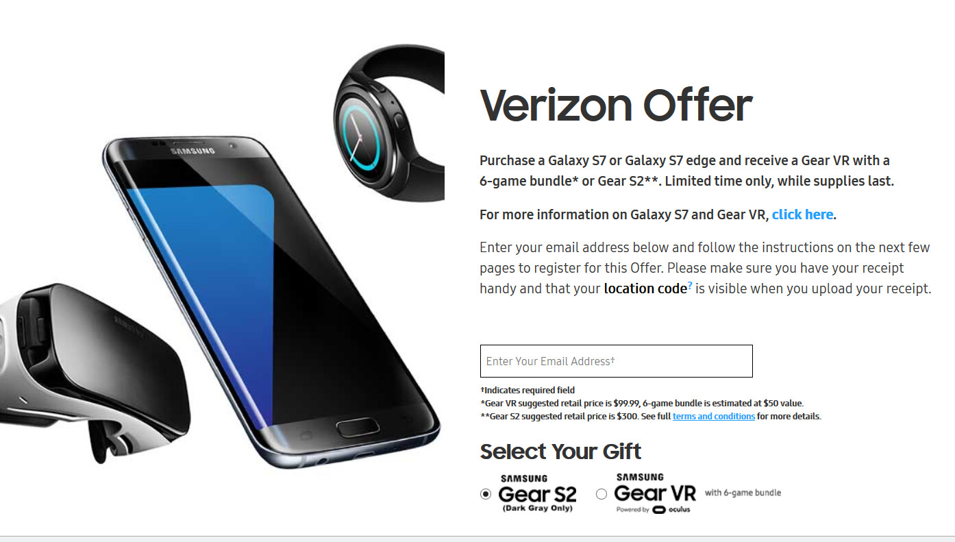 Verizon subscribers can choose between the Gear VR and the Samsung Gear S2 smartwatch