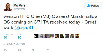 The HTC One (M8) is receiving Android 6.0 starting on March 7th