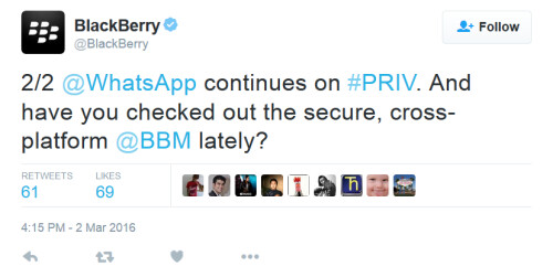 BlackBerry is looking for options to replace WhatsApp, which ends BB10 and BBOS support at the end of this year