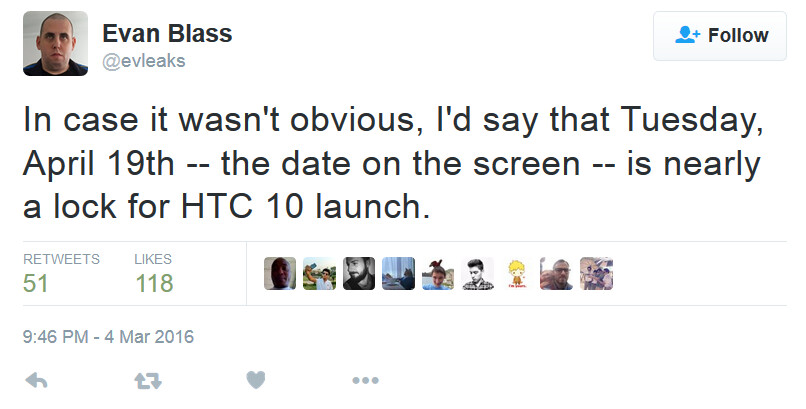 HTC 10 launch date of April 19th is a lock according to tipster Evan Blass - HTC 10 to launch on April 19th?