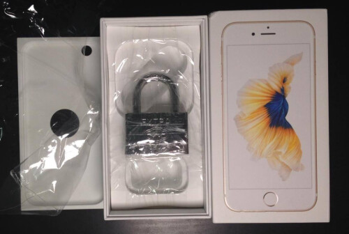 A sealed box that was supposed to contain a gold 16GB iPhone 6s had nothing but a padlock inside