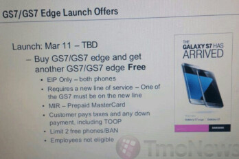 Leaked memo hints at upcfoming BOGO deal for the Galaxy S7 and Galaxy S7 edge on T-Mobile