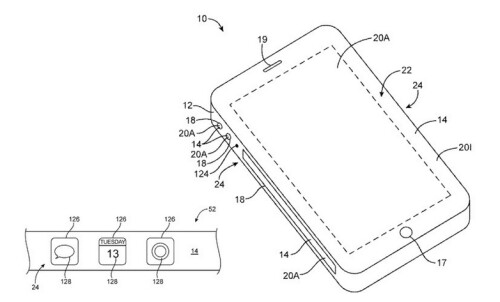 An iPhone with square sides carrying virtual buttons was patented by Apple