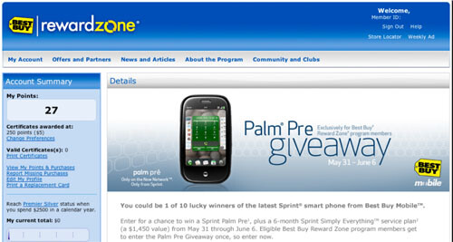 Best Buy contest to win Palm Pre and 6 months of service starts today-or does it?