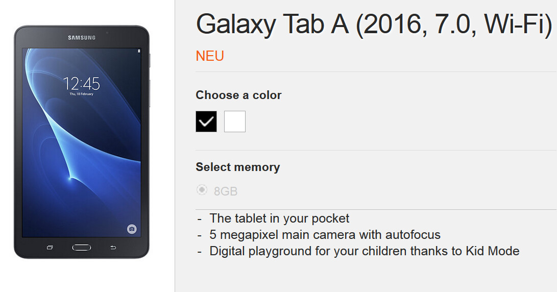 Samsung Galaxy Tab A (2016) now official
