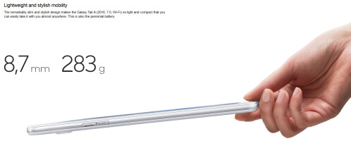 Tablet is 8.7mm thin