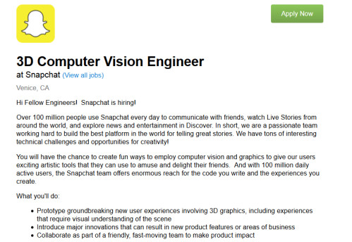 Snapchat's Snap Labs division is looking for a 3D Computer Vision Engineer...