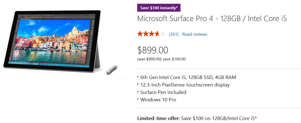 Save $100 on the 128GB Surface Pro 4 with 4GB RAM and the Intel iCore 5