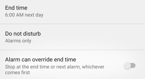 Do Not Disturb will disable itself when a set alarm goes off