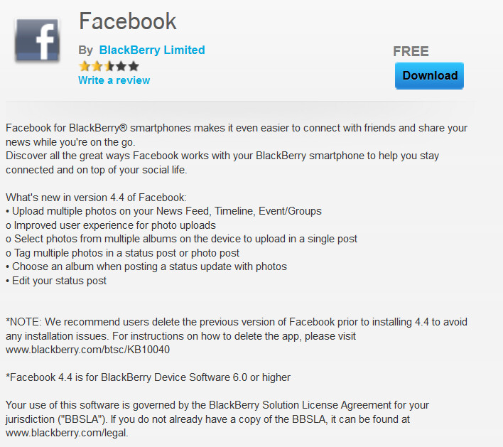 Mandatory update to BlackBerry's Facebook app turns it into