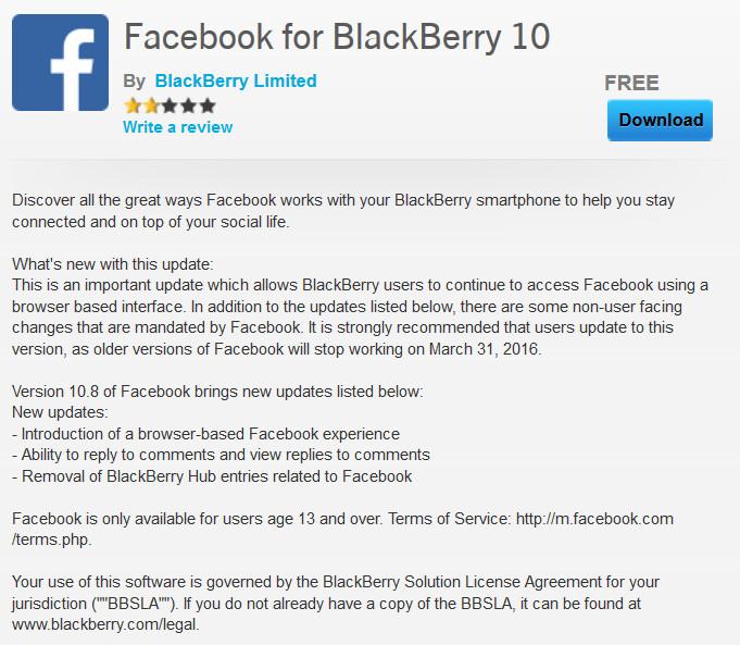 Facebook app free download for blackberry z10