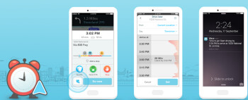 From left to right, Waze ETA screen, Planned Drives screen and Planned Drives alert