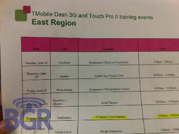 T-Mobile to start training on HTC's Touch Pro2 and Dash 3G on June 16th?