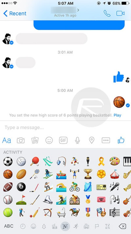 Send a message with the basketball emoji...