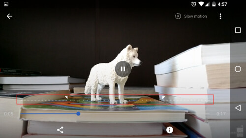 After the video is recorded, use this double-slider to select what portion of the video is played in slow motion.