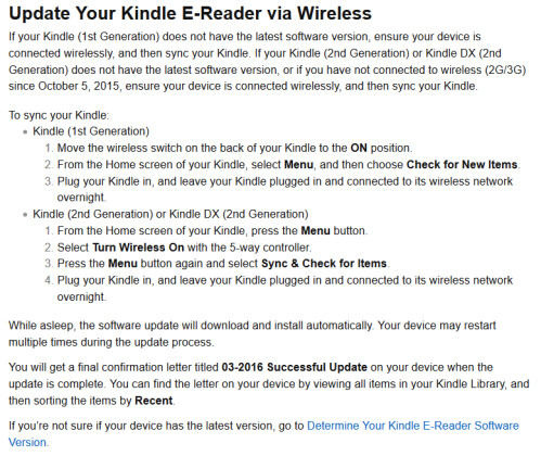 You might need to update your Kindle within the next two days. Follow the information on these charts