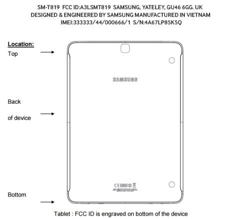 The Samsung Galaxy Tab S3 9.7 (SM-T819) hits the FCC