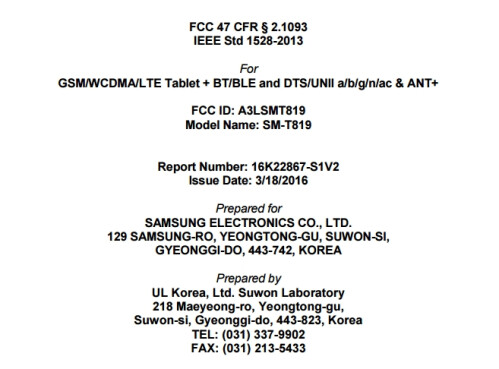 The Samsung Galaxy Tab S3 9.7 (SM-T819) hits the FCC