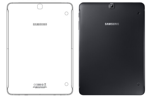 For the sake of comparison, here's the SM-T819 (left) next to the Galaxy Tab S2 9.7