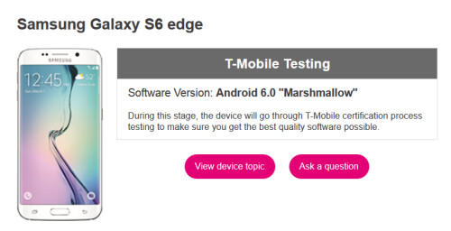Samsung Galaxy S6 and Samsung Galaxy S6 edge are being tested for Android 6.0 update by T-Mobile