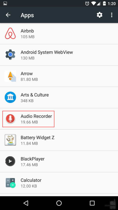 Now you have a list of all your installed apps - locate the one for which you want to clear cache, and tap on it. As you can see, we've chosen the Audio Recorder app.