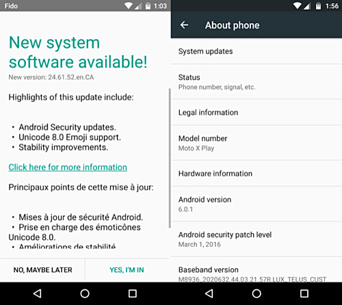 Motorola Moto X Play begins to receive the Android 6.0.1 Marshmallow update