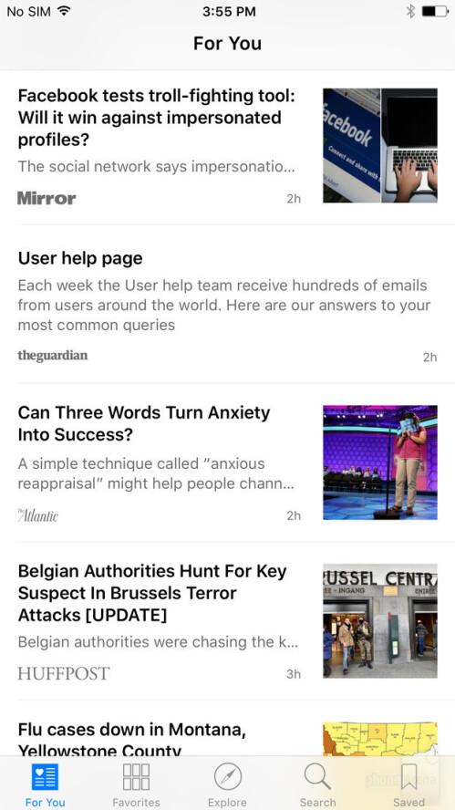 Apple News in iOS 9.3