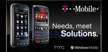 A promo picture showing the HTC Touch Pro2 and Dash 3G for T-Mobile