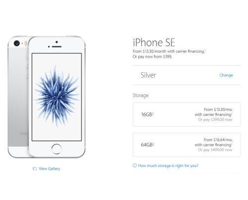 No 128GB storage option for iPhone SE