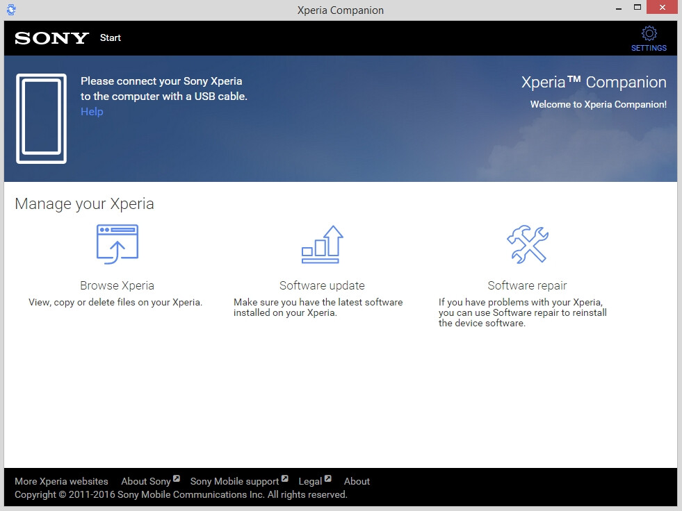 Sony Xperia Companion is a new Windows tool for managing