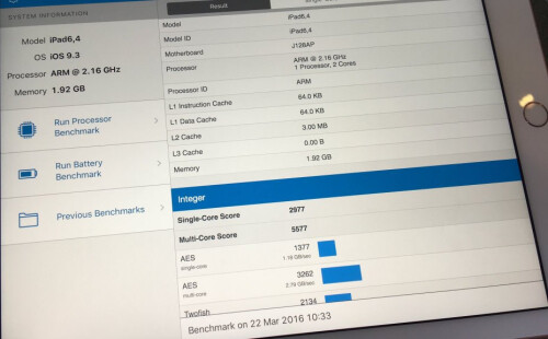 iPad Pro 9.7 has less RAM, slightly lower CPU speed