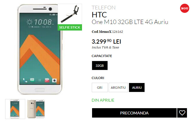 HTC 10 up for pre-order already; priced at $830 with a free selfie stick