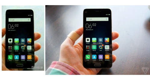 The fake photo (left) versus the original Xiaomi Mi 5 image from The Verge