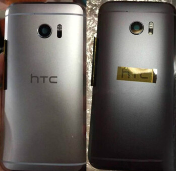 Leaked photo of the HTC 10 in black, on right next to the silver model