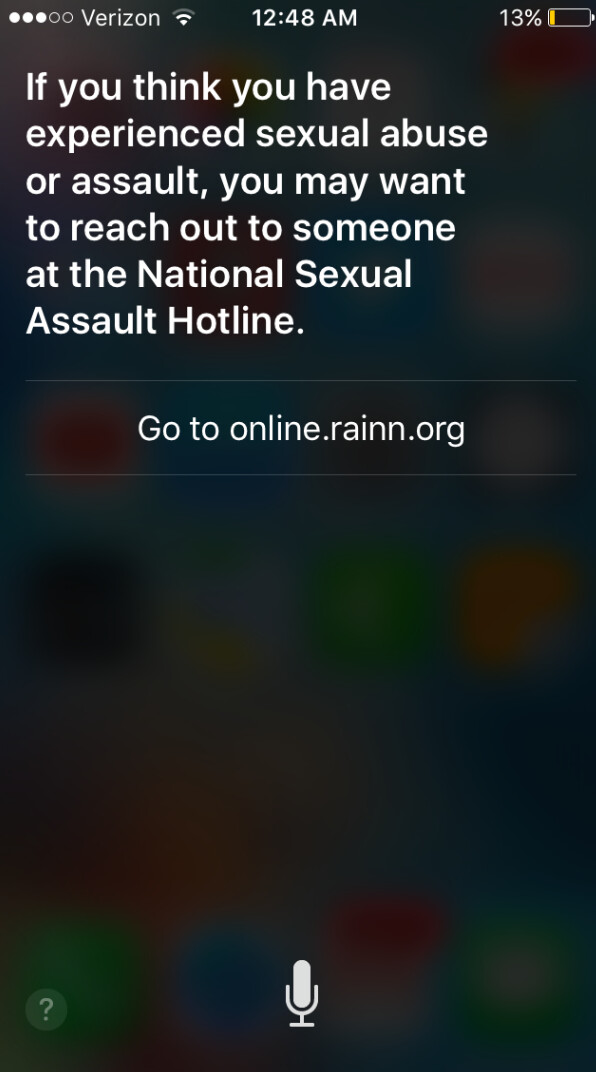 """Siri will now give a rape victim information on where to get help - Siri's response to """"I was raped"""" has been changed to a more helpful response"""
