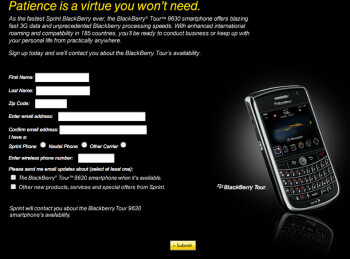 Sprint to offer BlackBerry Tour later this summer