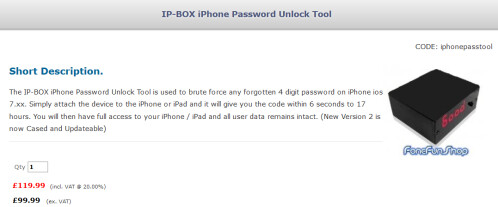 The IP-BOX for sale from the Fone Fun Shop can crack an iOS 7 pass code in 6 seconds to 17 hours