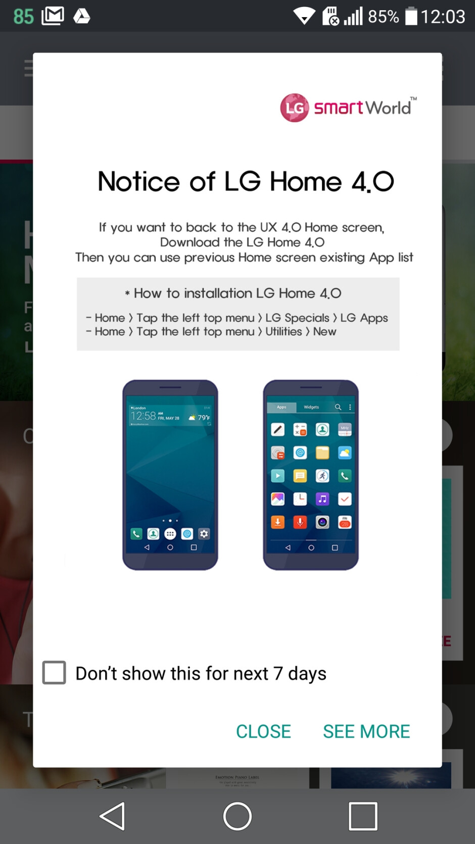 We opened SmartWorld and got this. - LG is bringing the app drawer back to the LG G5, Stylus 2, and K8 – here's how to get it