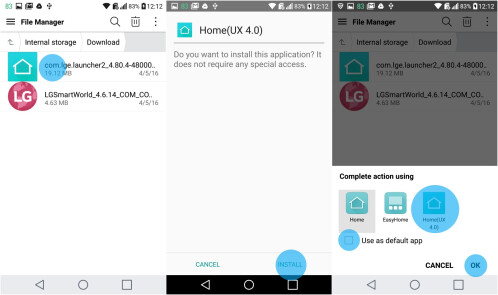 Installing the LG Home (UX 4.0) .apk file