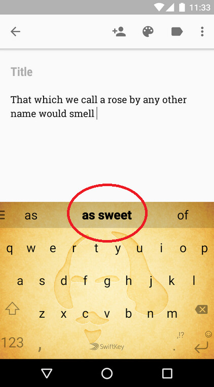 SwiftKey's predictitve technology will have you writing like the Bard in no time with ShakeSpeak