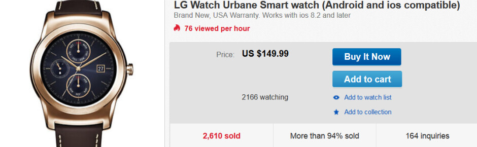 Buy the first-gen LG Watch Urbane for only $149.99 - First-generation LG Watch Urbane is only $149.99 on eBay
