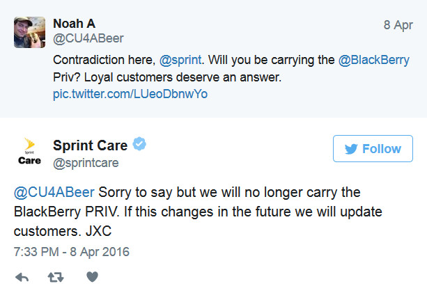 Sprint has apparently decided not to sell the BlackBerry Priv - Sprint won't sell the BlackBerry Priv after all