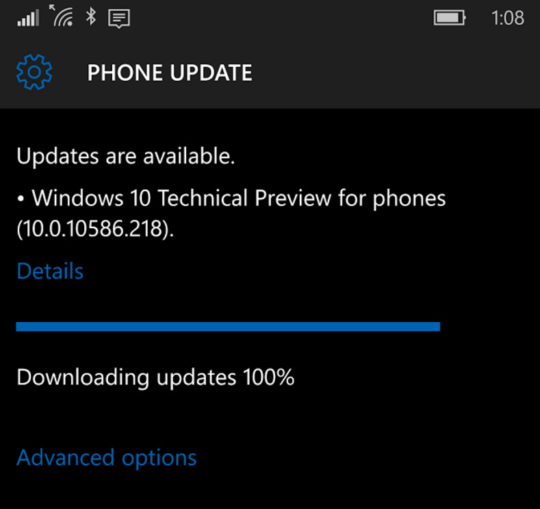 Windows 10 Mobile build 10586.218 is now available for the Release Preview ring - Latest build of Windows 10 Mobile, 10586.218, now available for Insiders on the Release Preview ring